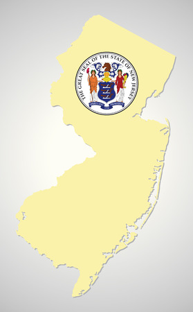 New Jersey map with seal
