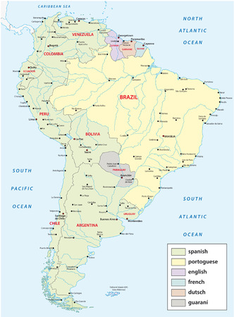southamerica: languages Map of South America