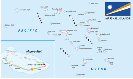 marshall: Marshall Islands map with flag