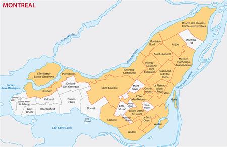 Montreal administratieve kaart Stock Illustratie