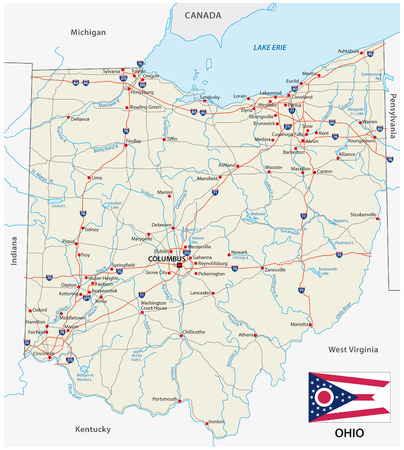 ohio road map with flag 矢量图像