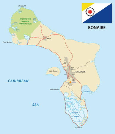 national parks: Bonaire road map with flag Illustration