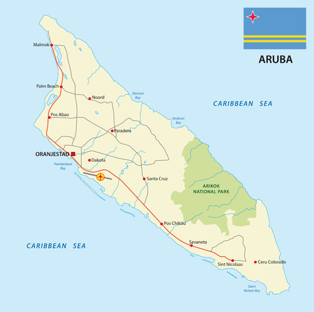Aruba road map with flag