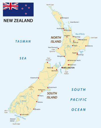 bandera de nueva zelanda: Mapa de Nueva Zelanda con bandera
