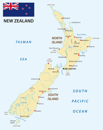 new zealand: New Zealand map with flag Illustration