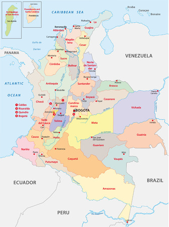 republic of colombia: colombia administrative map Illustration
