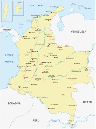 republic of ecuador: Colombia map
