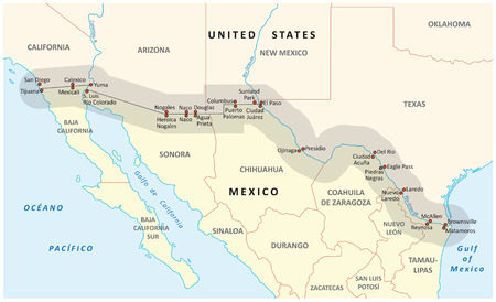 mexico map: unitedstate Mexico border map Illustration