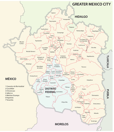 Greater Mexico City administrative map Vector