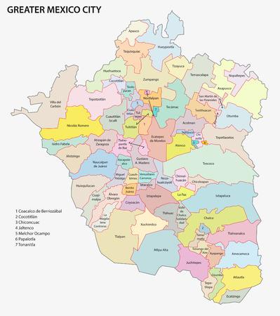 Większa mapa administracyjna Meksyk Ilustracje wektorowe