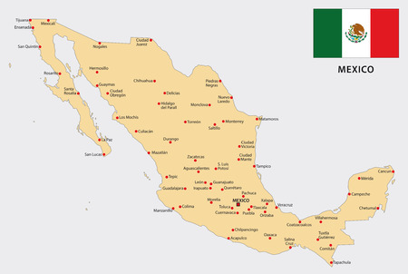 Mexico map with flag Ilustrace