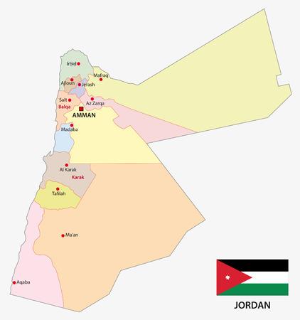 palestine: jordan administrative map with flag