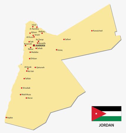 palestine: Jordan map with flag Illustration