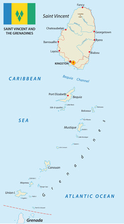 grenadines: Saint Vincent and the Grenadines map with flag