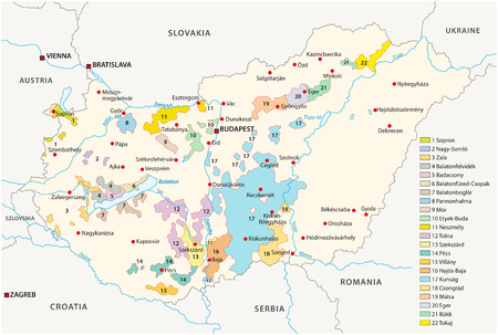 Hungary wine regions map Vectores