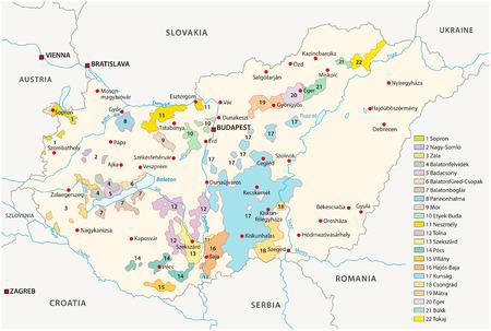 vinho: Hungria regiões vinícolas mapa