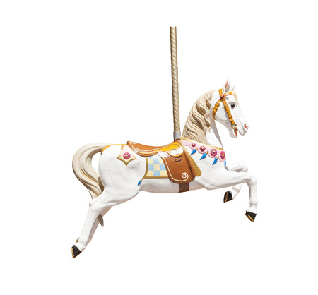 Old wooden carousel horse isolated on white background
