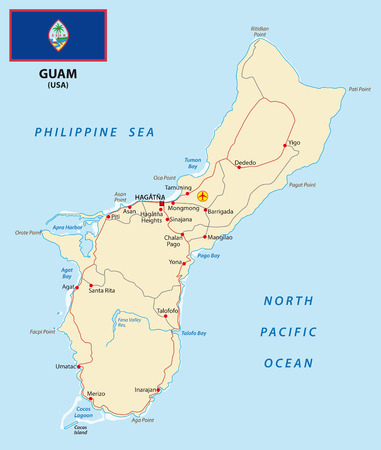 guam: Guam map with flag