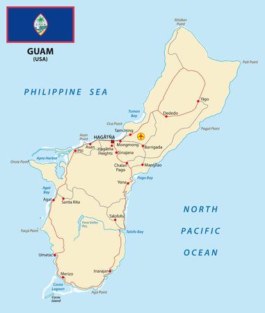 guam: Guam map with flag