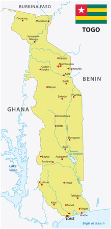 togo: Togo map with flag Illustration