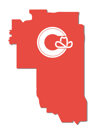calgary: Calgary map with flag Illustration