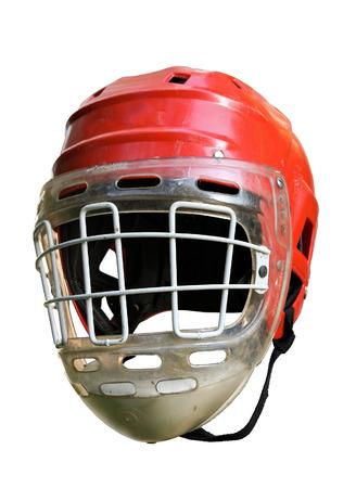 old hockey helmet under the white background