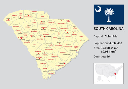south carolina administrative map with flag and country data Ilustração