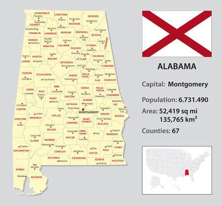 alabama: alabama administrative map with flag and country data Illustration