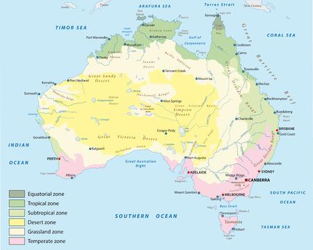 Climático mapa de zonas de Australia Foto de archivo - 41668273