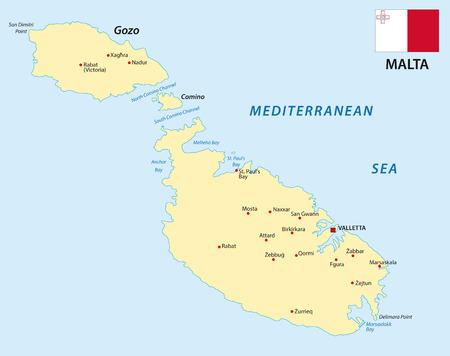 malta map: Malta map with flag