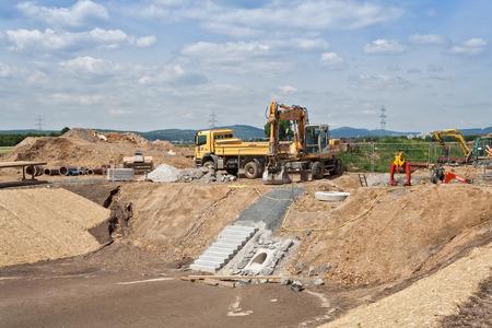 rainwater: Construction of a rainwater retention basin Stock Photo