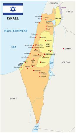 Israel mapa con la bandera Ilustración de vector