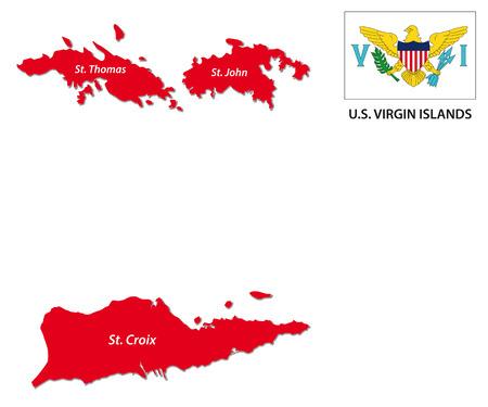 US Virgin Islands kaart met vlag Stock Illustratie