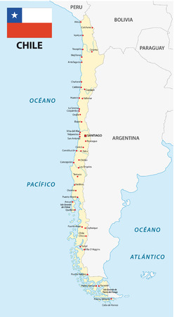 chile: Chile map with flag Illustration