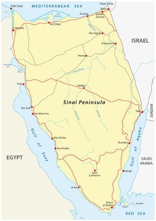 peninsula: Sinai Peninsula Road map