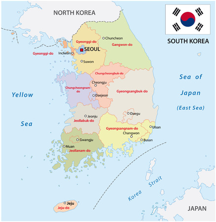 travel map: south korea administrative map with flag