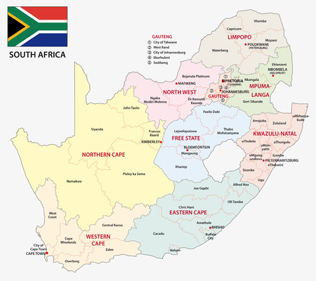 and south: south africa administrative map with flag Illustration