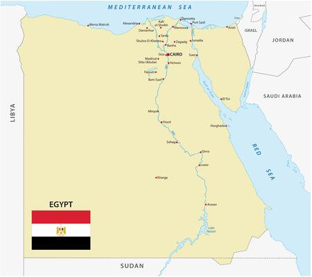 bandera de egipto: Egipto mapa con la bandera