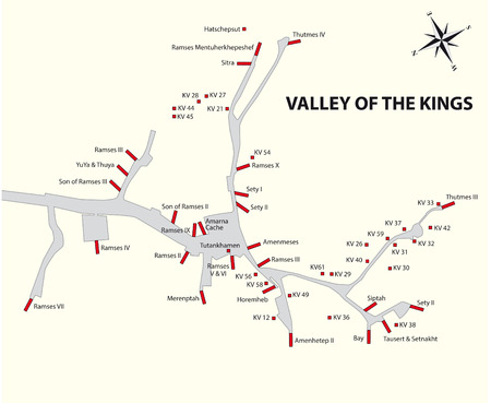 Valley of the Kings map, Egypt