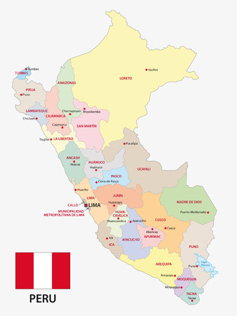 peru administrative map with flag  イラスト・ベクター素材