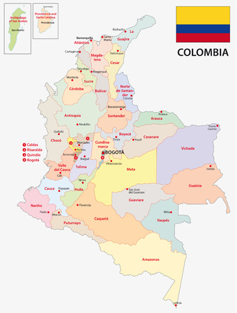 republic of colombia: colombia administrative map with flag