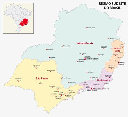 regions: Brazil Southeast Region map