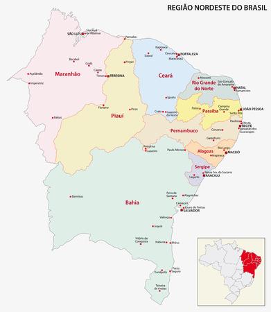 administrativo: Mapa Brasil Región Noreste Vectores