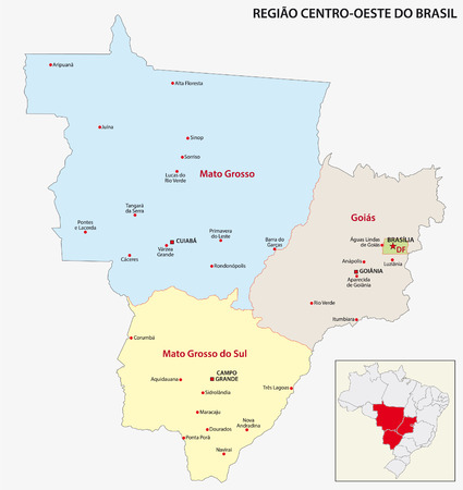 Brazil CentralWest Region Map Royalty Free Cliparts Vectors And - Us west region map