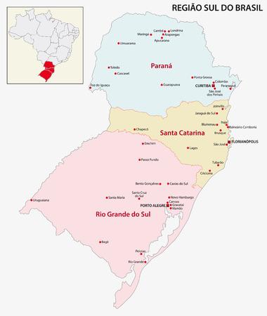 regions: Brazil South Region map Illustration