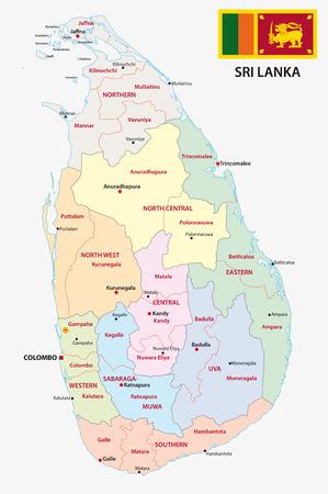 sri: Sri Lanka administrative map with flag