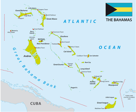 Bahamas map with flag Illustration