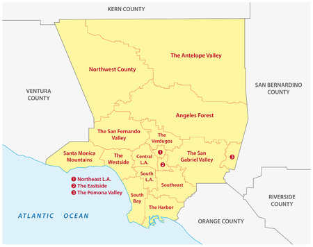 Los Angeles County administrative map Vettoriali