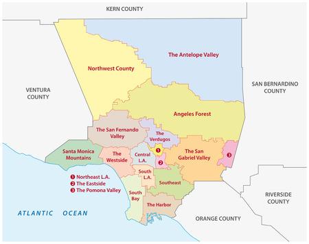 ロサンゼルス郡の行政地図