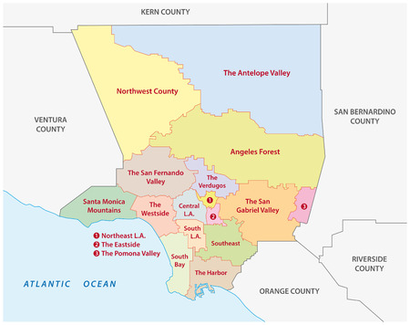 Los Angeles County administrative map Vectores